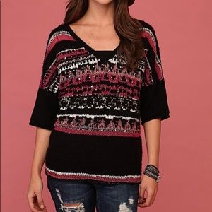 Free People Oversized Multi-color Sequin Sweater